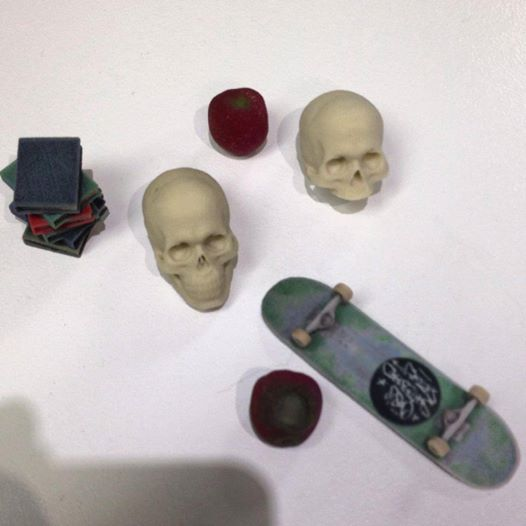 Various 3D Printed Bits - Skulls, Skateboards, & Discarded Textbooks