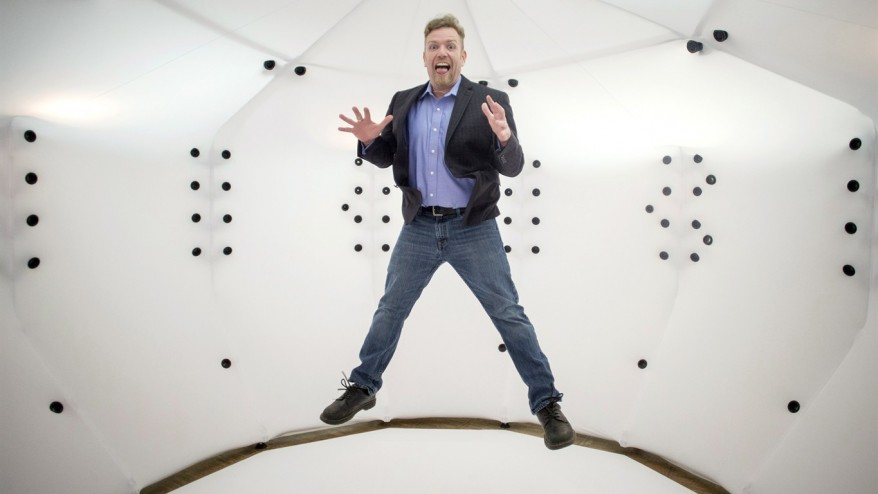 Objex Unlimited President and Founder Steve Cory inside the Selftraits Photogrammetry 3D Scanning Booth